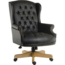 Teknik Chairman Leather Faced Swivel Chair - Black