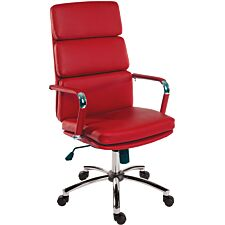 Teknik Deco Faux Leather Executive Office Chair - Red