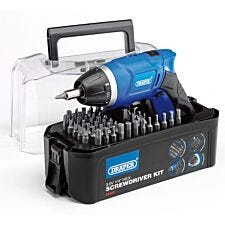 Draper 3.6V Cordless Li-Ion Screwdriver and 55-Bit Kit