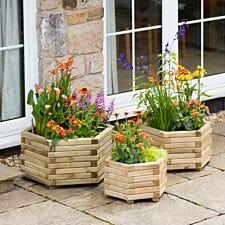 Zest4Leisure Marford Hexagonal Garden Planter Set