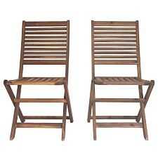Charles Bentley Wooden FSC Acacia Pair Of Foldable Dining Chairs