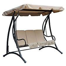 Charles Bentley 3-Seater Premium Garden Swing Seat – Beige