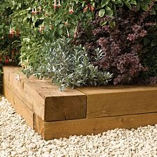 Rowlinson 1.8m Timber Flower Bed Blocks - 2pk
