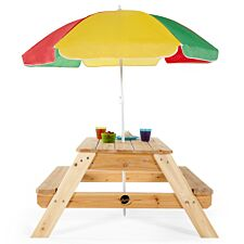 Plum Children's Rectangular Picnic Table with Colourful Parasol