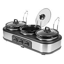 Tower 3-Pot Slow Cooker and Buffet Server - Stainless Steel