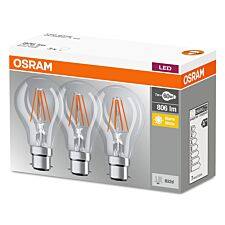 Osram Clear 60W Equivalent LED Classic A BC Bulbs, Warm White - 3 Pack