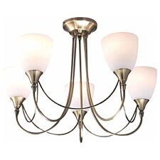 Village At Home Nottingham 5-Light Ceiling Light - Brass