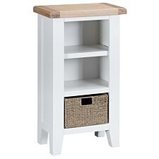 Madera Ready Assembled Small Narrow Wooden Bookcase - White