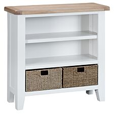 Madera Ready Assembled Small Wide Wooden Bookcase - White