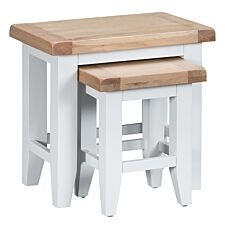 Madera Ready Assembled Nest of 2 Tables  -  White