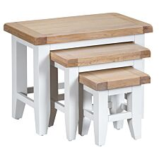 Madera Ready Assembled Nest of 3 Tables  -  White