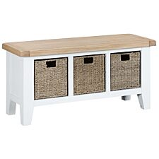 Madera Ready Assembled Large Hall Bench  -  White