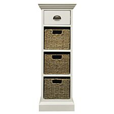 Tocino Ready Assembled 1-Drawer 3-Basket Wooden Storage Unit  -  White