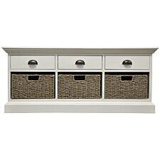 Tocino Ready Assembled 3-Drawer 3-Basket Wooden Storage Unit  -  White