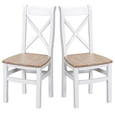 Madera Ready Assembled Pair of Cross Back Wooden Chairs  -  White