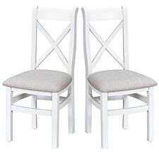Madera Ready Assembled Pair of Cross Back Wooden Chairs with Padded Seats  -  White