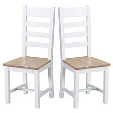 Madera Ready Assembled Pair of Ladder Back Wooden Chairs  -  White