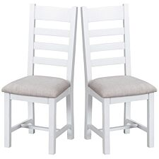 Madera Ready Assembled Pair of Ladder Back Wooden Chairs with Padded Seats  -  White