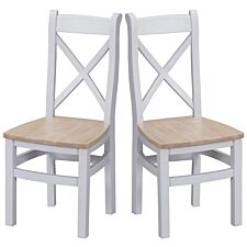 Madera Ready Assembled Pair of Cross Back Wooden Chairs  -  Grey