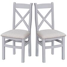 Madera Ready Assembled Pair of Cross Back Wooden Chairs  -  Grey/Nautral