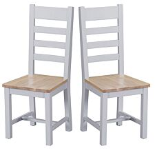 Madera Ready Assembled Pair of Ladder Back Wooden Chairs  -  Grey
