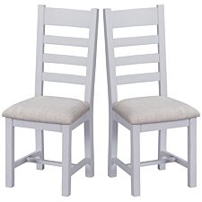 Madera Ready Assembled Pair of Ladder Back Wooden Chairs with Padded Seats  -  Grey