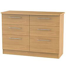 Edina 6-Drawer Midi Chest of Drawers - Modern Oak