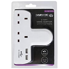 Daewoo 2-Way Wall Adaptor with 2 USB Ports - White