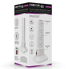 Daewoo 10-Way 2m Surge Protected USB Tower - White