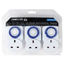 Daewoo 24-Hour 13 Amp Mechanical Timers - 3 Pack