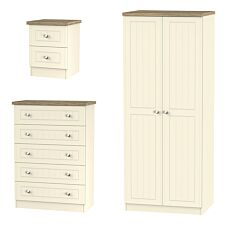 Wilcox Wardrobe, Chest of Drawers and Bedside Cabinet Set