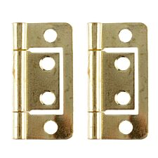 Select Hardware 40mm Flush Hinges Brass Plated - Pack of 2