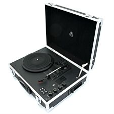 GPO Retro Flight Record Player - Black/Silver