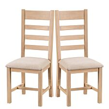 Wisborough Ready Assembled Pair of Ladder Back Oak Chairs with Padded Seats