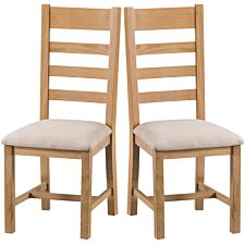 Graceford Ready Assembled Pair of Ladder Back Oak Chairs with Padded Seats
