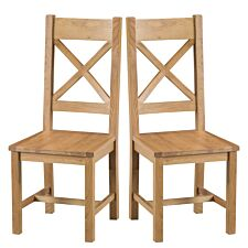 Graceford Ready Assembled Pair of Cross Back Oak Chairs