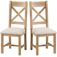 Graceford Ready Assembled Pair of Cross Back Oak Chairs with Padded Seats