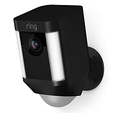 Ring Spotlight Cam Rechargeable Wireless Home Security Camera and Siren Alarm - Black