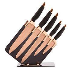 Tower 5-Piece Damascus Knife Block Set - Rose Gold/Black