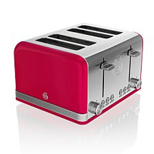 Swan ST19020RN 4-Slice Retro Toaster - Red