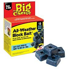 The Big Cheese Mouse and Rat Killer All Weather Block Bait - 15 x 10g
