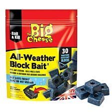 The Big Cheese Mouse and Rat Killer All Weather Block Bait - 30 x 10g