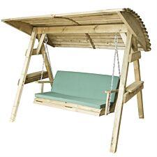 Zest4Leisure Wooden Miami Swing Seat & Cushion - Green