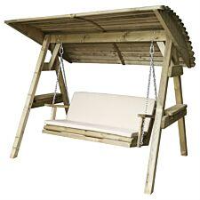 Zest4Leisure Wooden Miami Swing Seat & Cushion - Stone
