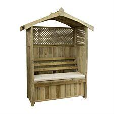 Zest4Leisure Dorset Wooden Arbour with Storage Box & Seat Cushion - Stone