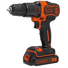 Black & Decker 18V Cordless Hammer Drill with Battery and Case