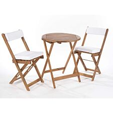 Greenhurst Raffles Bistro Set with Cushions - Natural