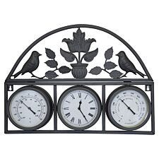 Charles Bentley Shabby Chic Wall Clock with Thermometer and Hygrometer - Black