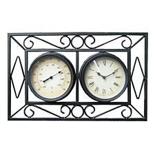Charles Bentley Ornate Metal Wall Mounted Clock with Thermometer - Black