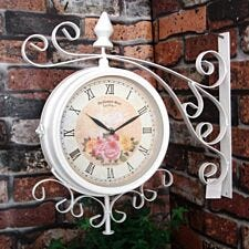 Charles Bentley Double Sided Metal Bracket Vintage Wall Clock - Cream
